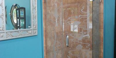 3/8 framless shower with sandblasted design