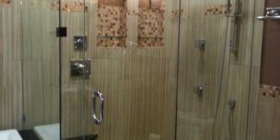 3/8 frameless shower with wall support