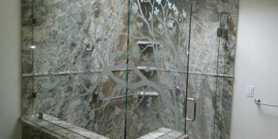 sandblasted 3/8 frameless shower door